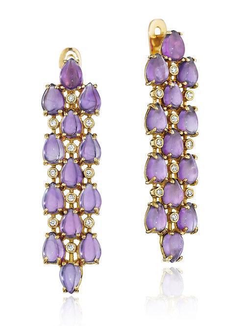 Amethyst Diamond 18K Gold Drop Earrings