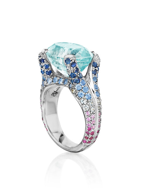 Aquamarine and multi-sapphire 18K white gold ring