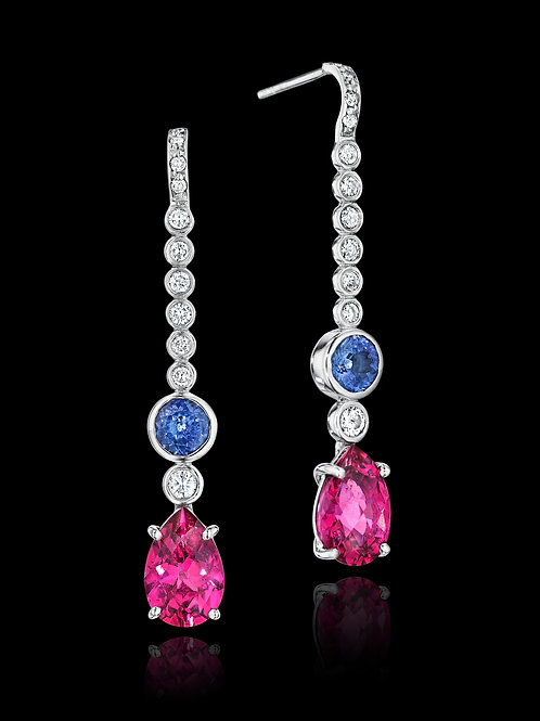 Pink Tourmaline Tanzanite Diamond 18K Gold Drop Earrings