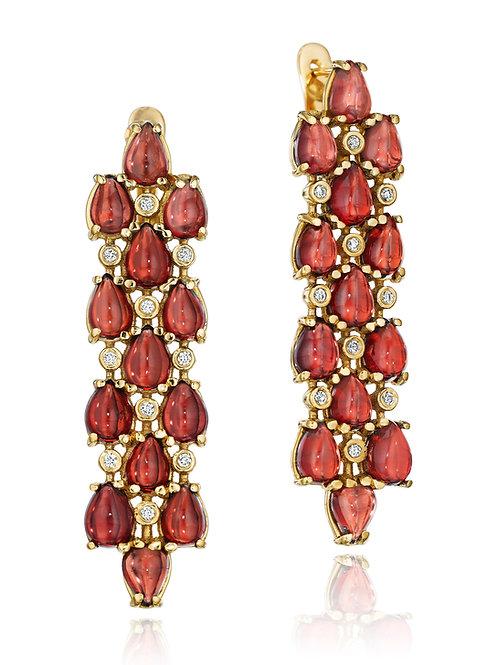 Rhodolite Garnet Diamond 18K Gold Drop Earrings