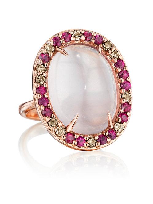 Rose Quartz, Ruby and Brown Diamonds Ring set in 18K Rose Gold