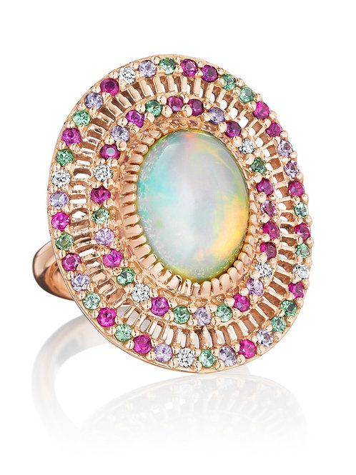 Opal, Pink Sapphires, Tsavorites, and Diamonds 18K Gold Ring