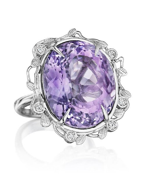 Amethyst & Diamonds 18K Gold Statement Ring