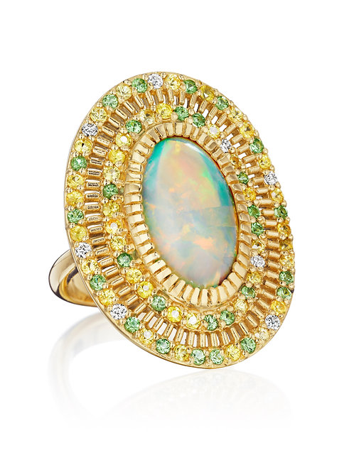 Opal, Yellow Sapphires, Tsavorites and white Diamonds 18K Gold Ring