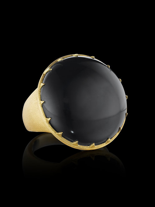 Black Onyx 18K Textured Gold Statement Ring