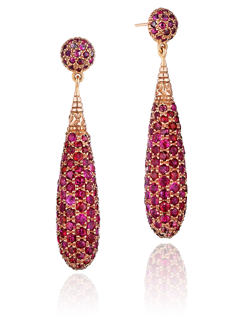 Rubies 18K Rose Gold Drop Earrings