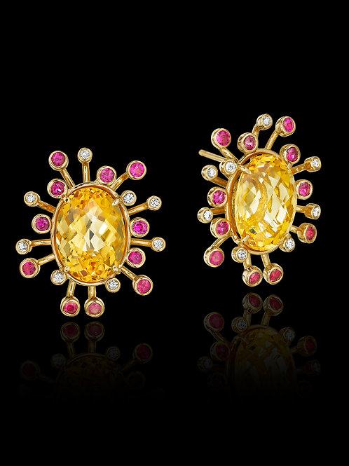 Citrine Pink Sapphire Diamond 18K Gold Studed Earrings