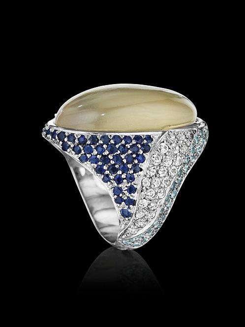 Grey Moonstone Sapphire Topaz 18K Gold Ring