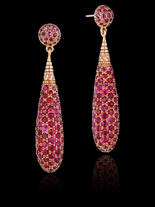 Rubies 18K Rose Gold Drop Earrings