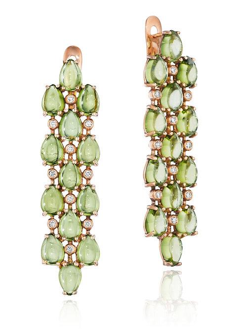 Peridot Diamond 18K Gold Drop Earrings