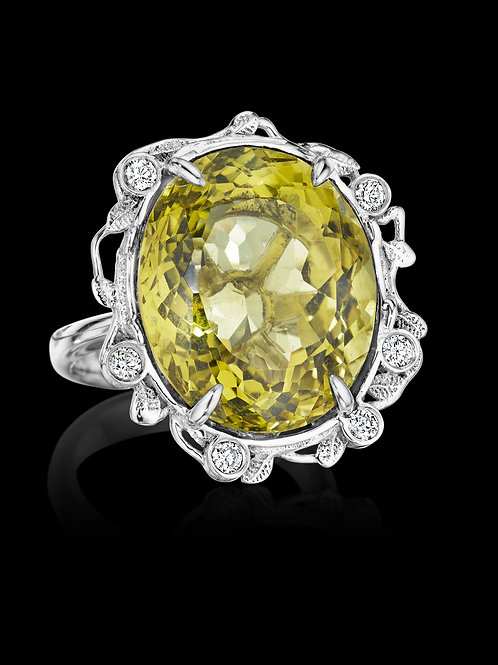 Lemon Quartz Diamond 18K Gold Statement Ring