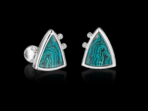 Diamond Azurite Malachite Platinum Cufflinks
