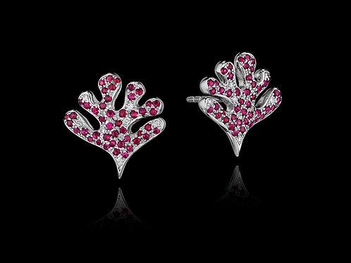 Rubies Diamond 18K White Gold Stud Earrings