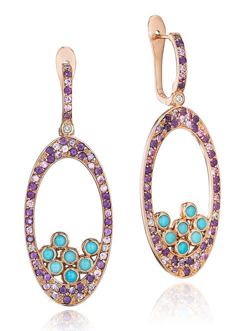 Amethyst Turquoise Sapphire Diamond 18K rose gold drop earrings