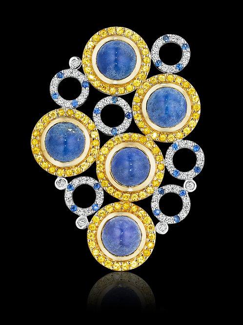 Blue and Yellow Sapphires, Diamonds & Lapis Lazuli 18K Gold Brooch-Pendant