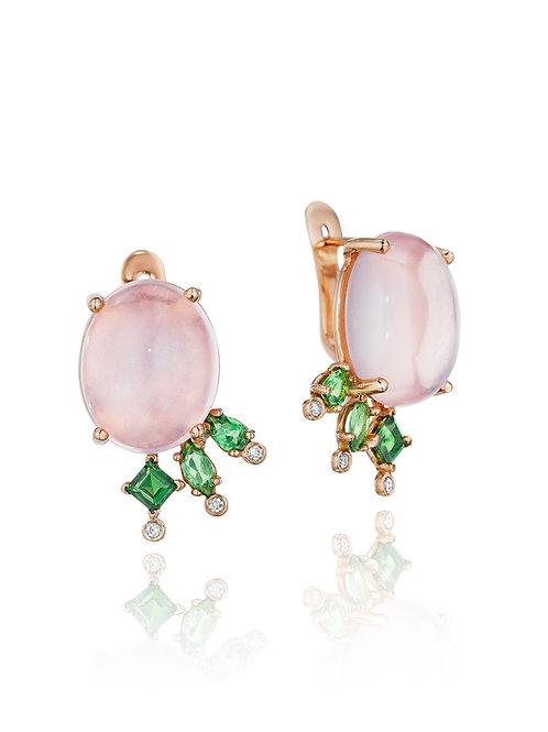 Rose Quartz Tsavorite Diamond 18K Gold Stud Earrings