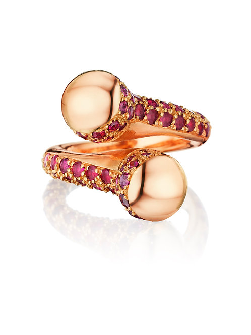 Double Bypass Ruby 18K Rose Gold Ring