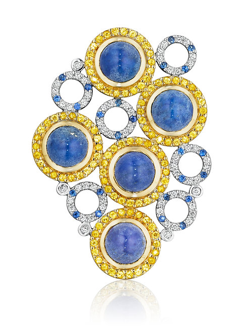 Blue and Yellow Sapphires, Diamonds & Lapis Lazuli 18K White Gold Brooch-Pendant
