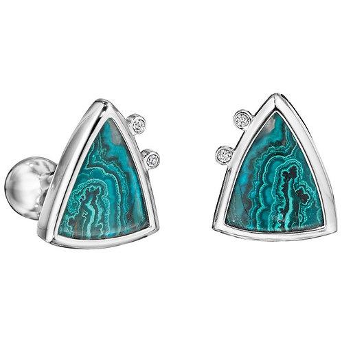 Diamond Azurite Malachite Platinum Cufflinks