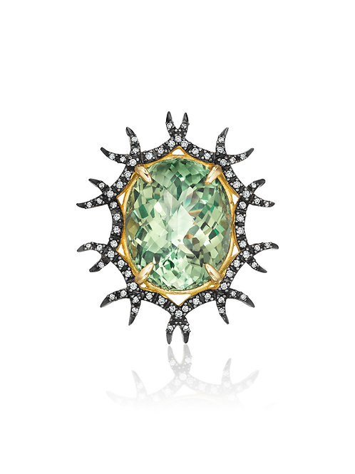 Green Amethyst and Diamonds 18K Gold Brooch-Pendant