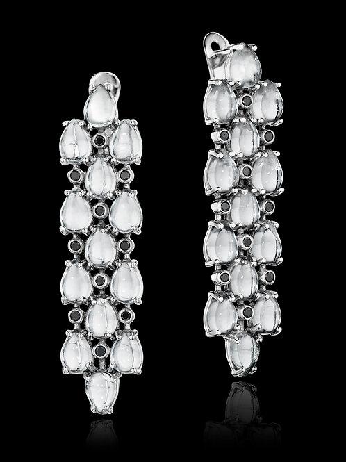 White Topaz Diamond 18K Gold Drop Earrings