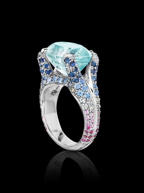 Aquamarine and multi-sapphire 18K white gold ring