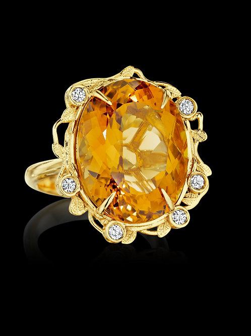 Citrine Diamond 18K Yellow Gold Statement Ring