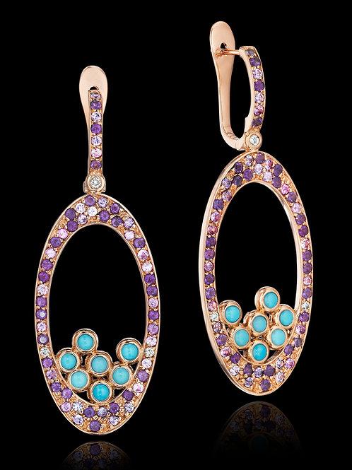 Amethyst Turquoise Diamond 18K Gold Drop Earrings