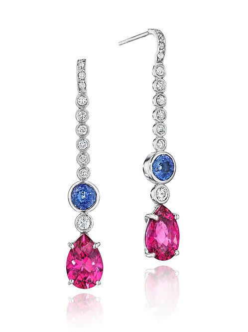 Pink Tourmaline Tanzanite Diamond 18K white Gold Drop Earrings