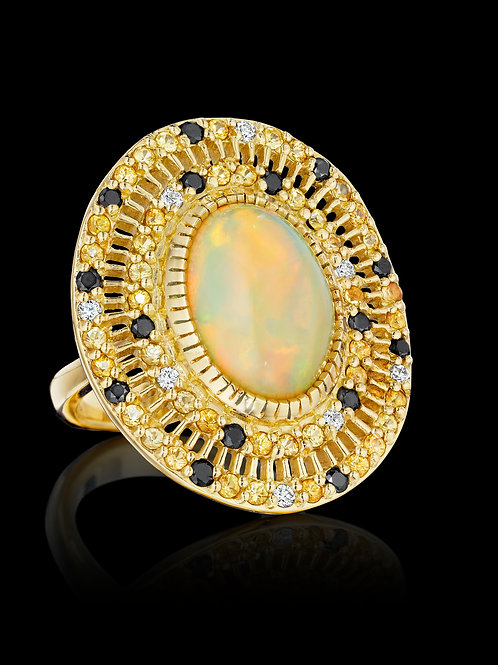 Opal, Yellow Sapphires, black and white diamonds 18K Gold Ring