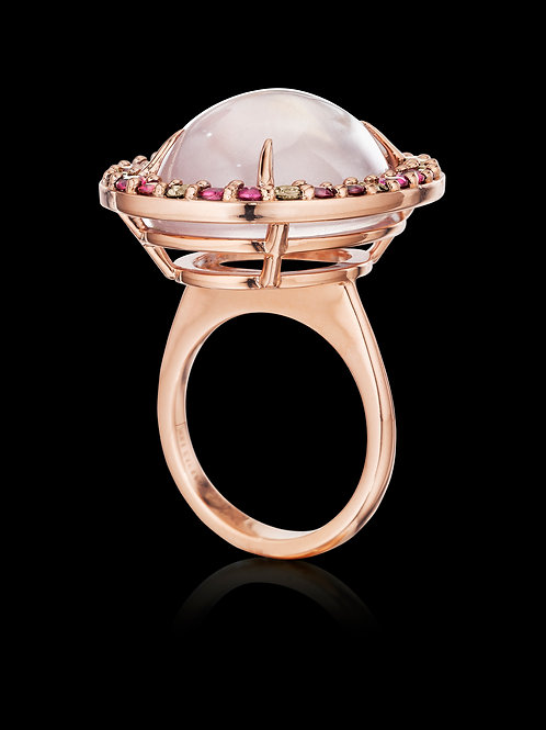 Rose Quartz, Ruby and Brown Diamonds Ring set in 18K Rose Gold