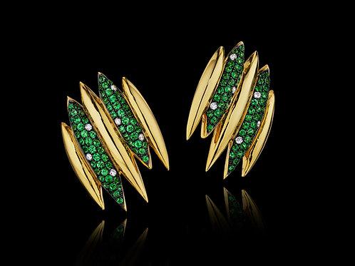 Tsavorite Diamond 18K Yellow Gold Earrings