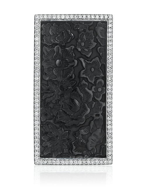 Carved Onyx and Diamonds 18K White Gold Brooch Pendant