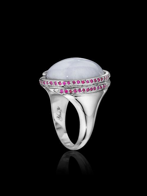 Lavender Jade Ruby 18K White Gold Ring