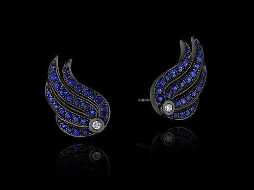 Blue Sapphire Diamond 18K Blackened Gold Stud Earrings