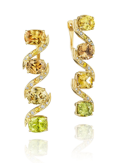 Mismatched Mixed Natural Zircon 18K Gold Drop Earrings