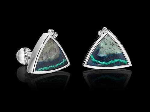 Platinum Diamonds Azurite Malachite Cufflinks
