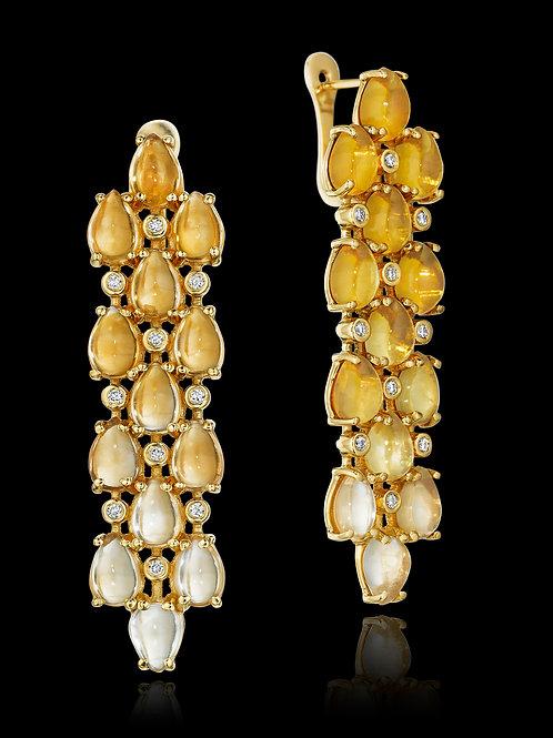 Citrine Diamond 18K Gold Drop Earrings