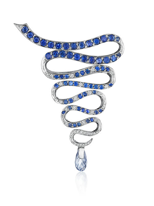 Diamonds and Blue Sapphires convertable 18K White Gold Brooch-Pendant