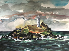 watercolour painting of Godrevy lighthouse