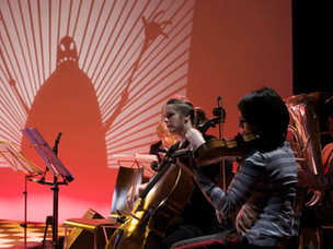 Matthew Robins shadow puppetry live at the Barbican, peforming Flyboy is Alone Again This Christmas