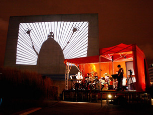 Matthew Robins shadow puppetry live at the National Theatre, performing Flyboy and the Robot