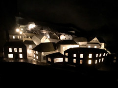 behind the scenes animating Lanterns for Passenger - model of Mousehole village