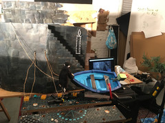 behind the scenes animating Lanterns for Passenger - puppet set based on Mousehole Harbour