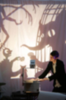 Matthew Robins live - shadow puppets made by Matthew Robins, Flyboy and Mothboy, a snake bit my hand