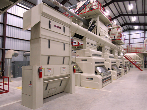 """4-Stand Conveyor Distributor with 96"""" wide Automatic Overflow Hopper"""