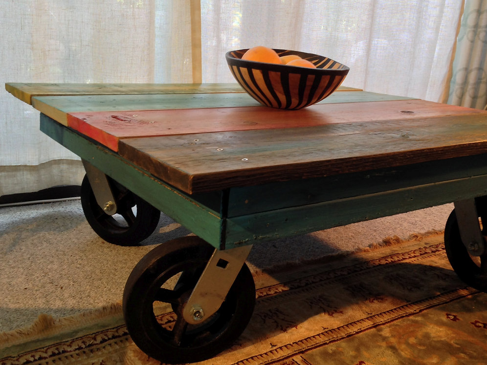 Reclaimed Wood Coffee Table With Big Wheels