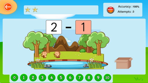Monkey subtraction - 1 to 5 - numerical