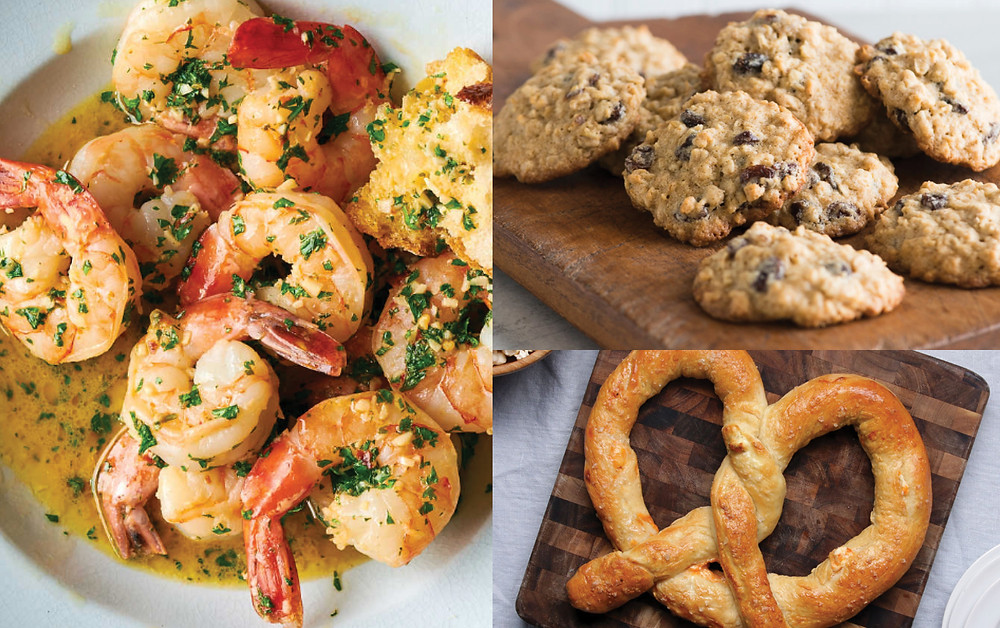 Shrimp Scampi, Oatmeal Raisin Cookies, Pretzels
