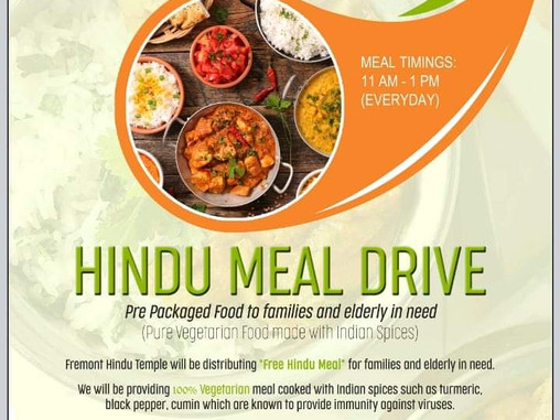 Pre Packaged free vegetarian food to families and elderly in need at Fremont Hindu Temple